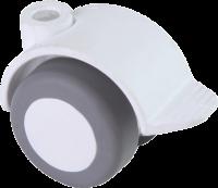 Doppelrolle Ø 040 mm mit weicher Lauffläche und Feststeller, Bohrung Ø 8mm, weiss