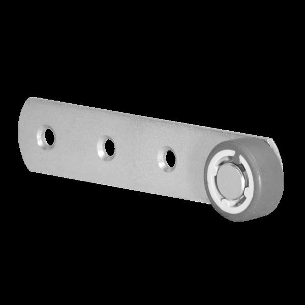 Sonderkonstruktionen mit Rolle | Hebel 135x28 mm verzinkt mit Rolle Ø 050 mm, weiche Lauffläche
