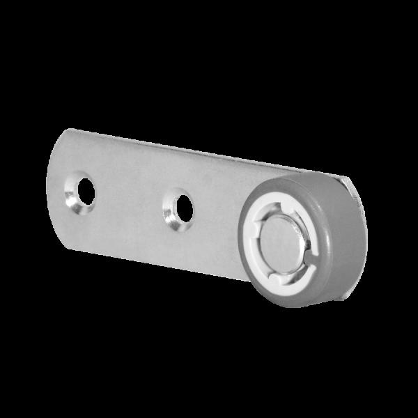 Sonderkonstruktionen mit Rolle | Hebel 100x28 mm verzinkt mit Rolle Ø 050 mm, weiche Lauffläche