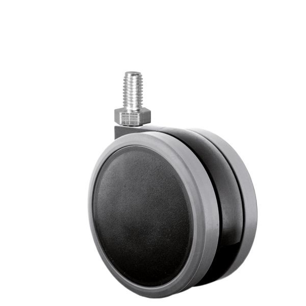 Doppelrollen Ø 65 mm - weiche Lauffläche | Doppelrolle Ø 065 mm mit weicher Lauffläche, Gewindestift M10x15 mm