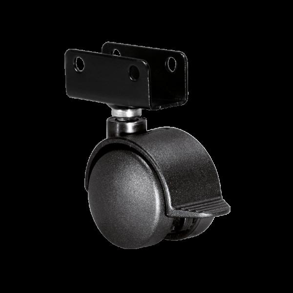 Doppelrollen Ø 40 mm - harte Lauffläche | Doppelrolle Ø 040 mm mit harter Lauffläche und Feststeller, Plattenschuh 22 mm