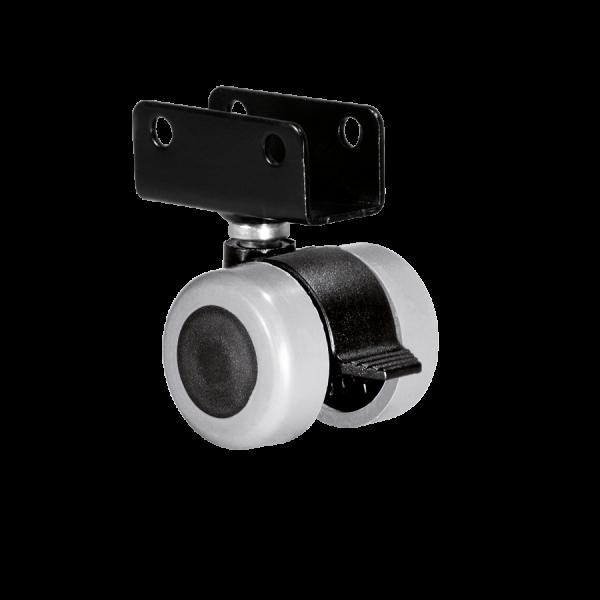 Doppelrollen Ø 35 mm - weiche Lauffläche | Doppelrolle Ø 035 mm mit weicher Lauffläche und Feststeller, Plattenschuh 19 mm