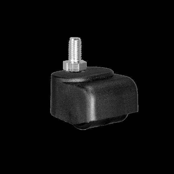 Walzenrolle Ø 025 mm mit harter Lauffläche, Doppelbereifung, Gewindestift M8x15 mm