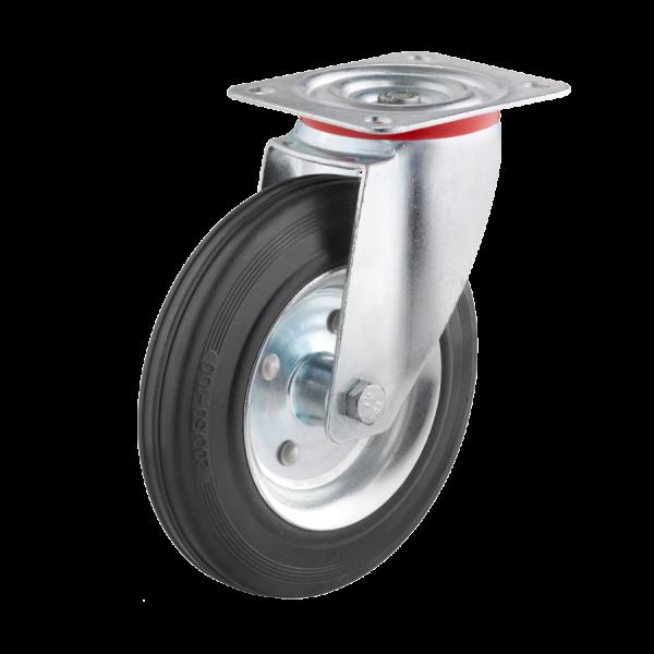 Industrierollen - Radserie VGS_R1 (Rollenlager) | Ø 200 mm, Lenkrolle mit Anschraubplatte, Radkörper aus Stahlblech, Lauffläche aus Vollgummi mit Roll
