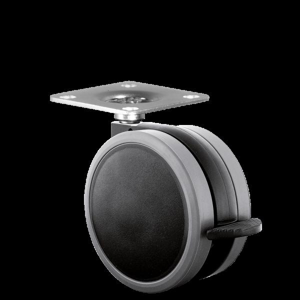 Doppelrollen Ø 65 mm - weiche Lauffläche | Doppelrolle Ø 065 mm mit weicher Lauffläche und Feststeller, Anschraubplatte 40x40 mm