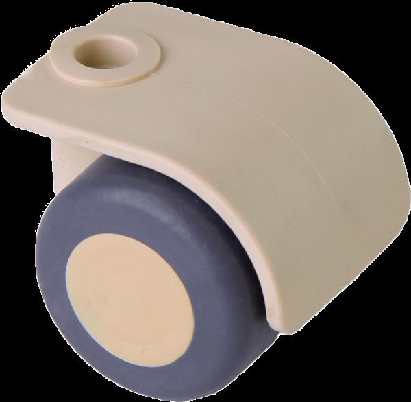 Möbelrollen in Farben | Doppelrolle Ø 035 mm mit weicher Lauffläche, Bohrung Ø 8mm, sand