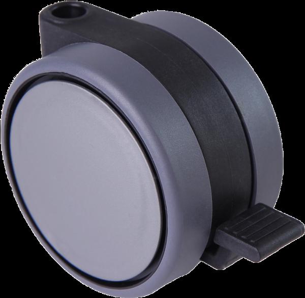 Doppelrollen Ø 75 mm - weiche Lauffläche   Doppelrollen mit weicher Lauffläche, Feststeller und durchgehender Radachse, Ø75mm, silber
