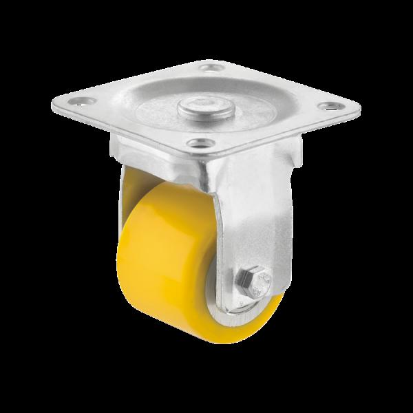 Mini-Schwerlastrollen | Mini-Schwerlast-Bockrolle Ø 035 mm mit Anschraubplatte, Lauffläche aus Polyurethan mit Kugellager