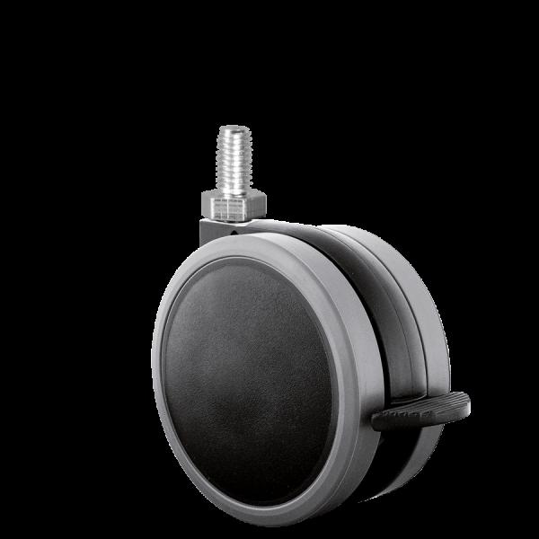 Doppelrollen Ø 65 mm - weiche Lauffläche | Doppelrolle Ø 065 mm mit weicher Lauffläche und Feststeller, Gewindestift M10x15 mm