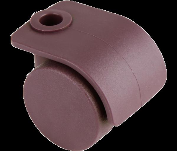 Möbelrollen in Farben | Doppelrolle Ø 035 mm mit harter Lauffläche, Bohrung Ø 8mm, merlot