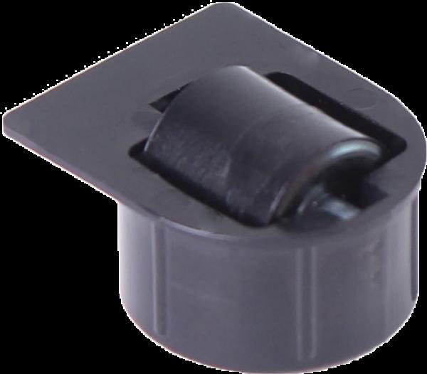 Einbauprodukte | Stollenrolle mit Rad schwarz mit harter Lauffläche, Ø 16 mm, für Bohrung Ø 25 mm, Bauhöhe 4 mm, mit