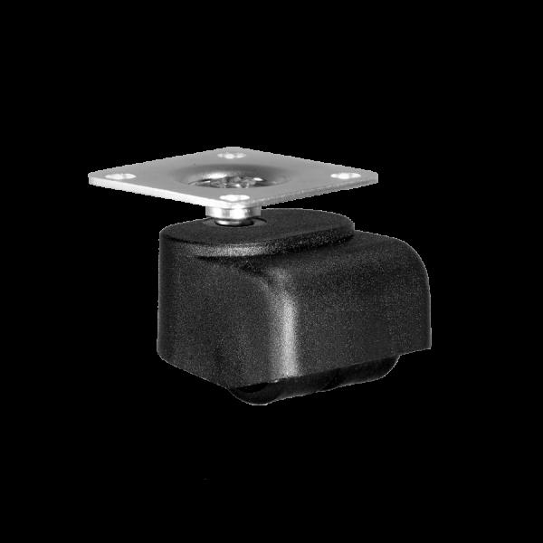 Walzenrollen | Walzenrolle Ø 025 mm mit harter Lauffläche, Doppelbereifung, Anschraubplatte 40x40 mm
