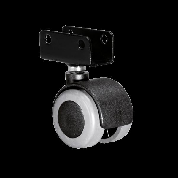 Doppelrollen Ø 40 mm - weiche Lauffläche | Doppelrolle Ø 040 mm mit weicher Lauffläche, Plattenschuh 22 mm