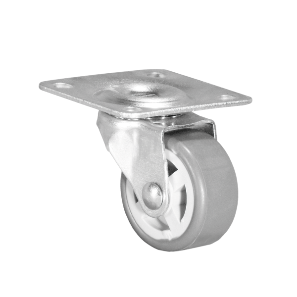 Apparaterollen / Geräterollen | Ø 025 mm Apparaterolle mit weicher Lauffläche, Anschraubplatte 40x40 mm
