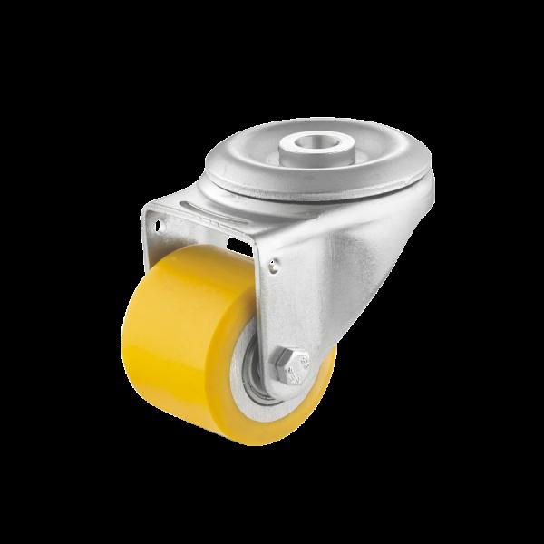Mini-Schwerlastrollen | Mini-Schwerlast-Lenkrolle Ø 050 mm mit Rückenloch, Lauffläche aus Polyurethan mit Kugellager