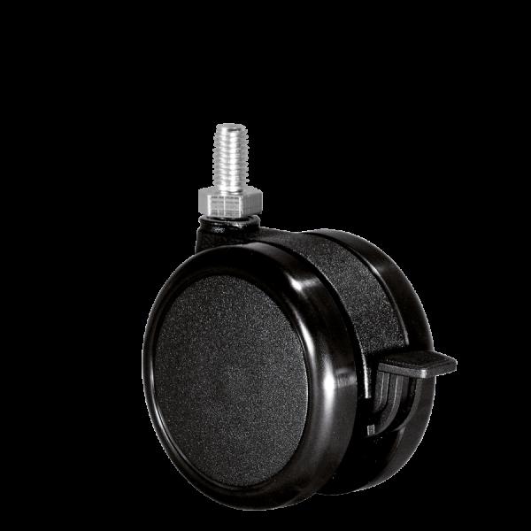 Doppelrollen Ø 75 mm - harte Lauffläche | Doppelrolle Ø 075 mm mit harter Lauffläche und Feststeller, Gewindestift M10x15 mm