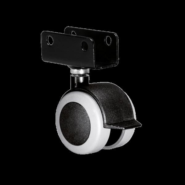 Doppelrollen Ø 50 mm - weiche Lauffläche | Doppelrolle Ø 050 mm mit weicher Lauffläche und Feststeller, Plattenschuh 16 mm