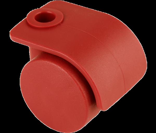 Möbelrollen in Farben | Doppelrolle Ø 035 mm mit harter Lauffläche, Bohrung Ø 8mm, rot