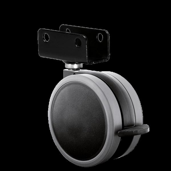 Doppelrollen Ø 65 mm - weiche Lauffläche | Doppelrolle Ø 065 mm mit weicher Lauffläche und Feststeller, Plattenschuh 19 mm