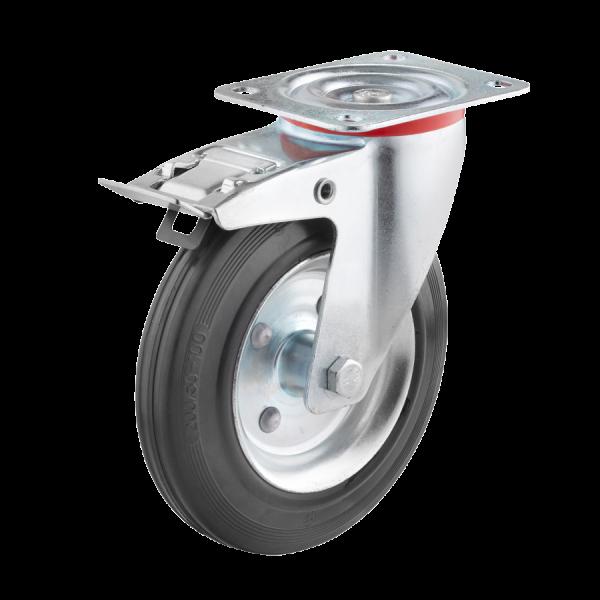 Industrierollen - Radserie VGS_R1 (Rollenlager) | Ø 100 mm, Lenkrolle mit Feststeller und Anschraubplatte, Radkörper aus Stahlblech, Lauffläche aus Vo