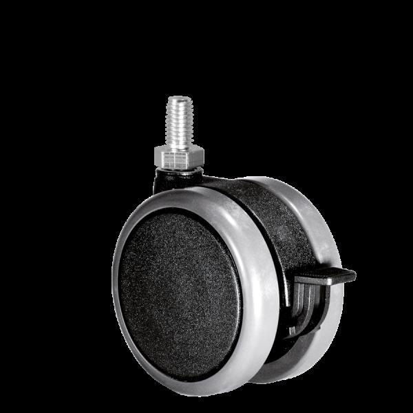 Doppelrollen Ø 75 mm - weiche Lauffläche | Doppelrolle Ø 075 mm mit weicher Lauffläche und Feststeller, Gewindestift M10x15 mm