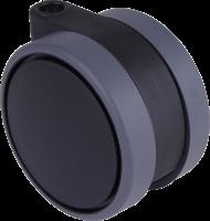 Doppelrollen mit weicher Lauffläche und durchgehender Radachse, Ø75mm, schwarz