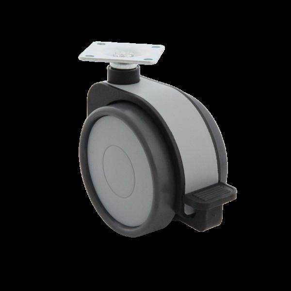 Design-Doppelrollen Ø 75 mm - weiche Lauffläche | Doppelrolle Ø 075 mm mit weicher Lauffläche und Feststeller, Kappen & Blende grau, Anschraubplat