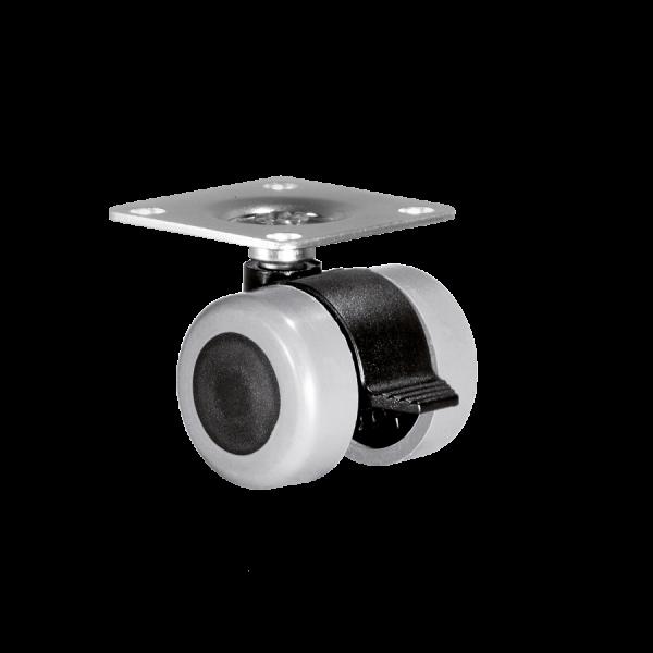 Doppelrollen Ø 35 mm - weiche Lauffläche | Doppelrolle Ø 035 mm mit weicher Lauffläche und Feststeller, Anschraubplatte 40x40 mm