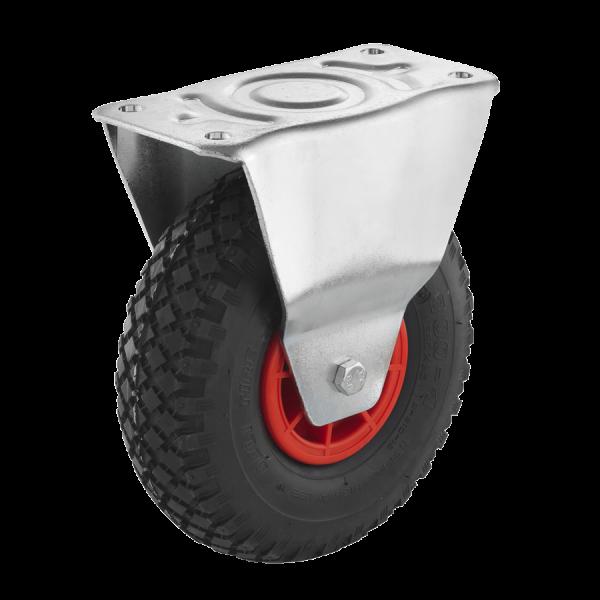 Industrierollen (Luftbereifung) - Radserie LUK_R1 (Rollenlager) | Ø 260 mm, Bockrolle mit Anschraubplatte, Luftbereifung mit Rollenlager