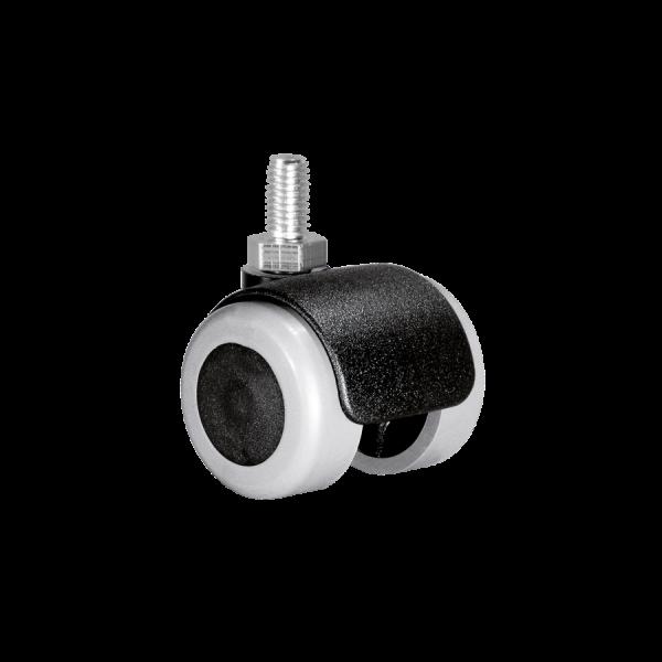 Doppelrollen Ø 35 mm - weiche Lauffläche | Doppelrolle Ø 035 mm mit weicher Lauffläche, Gewindestift M10x15 mm