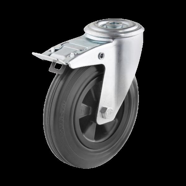 Industrierollen - Radserie VGK_R1 (Rollenlager) | Ø 125 mm, Lenkrolle mit Feststeller und Rückenloch, Radkörper aus Kunststoff, Lauffläche aus Vollgum