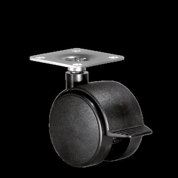 Doppelrollen Ø 50 mm - harte Lauffläche | Doppelrolle Ø 050 mm mit harter Lauffläche und Feststeller, Anschraubplatte 40x40 mm